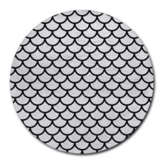 Scales1 Black Marble & White Leather Round Mousepads