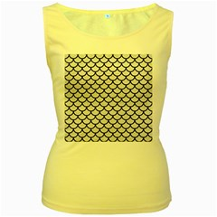 Scales1 Black Marble & White Leather Women s Yellow Tank Top