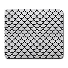 Scales1 Black Marble & White Leather Large Mousepads