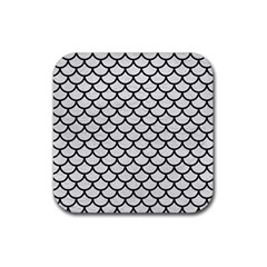 Scales1 Black Marble & White Leather Rubber Coaster (square)