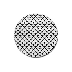 Scales1 Black Marble & White Leather Magnet 3  (round)