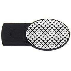 Scales1 Black Marble & White Leather Usb Flash Drive Oval (2 Gb)