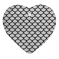 Scales1 Black Marble & White Leather Heart Ornament (two Sides)
