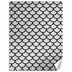 Scales1 Black Marble & White Leather Canvas 18  X 24