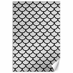 Scales1 Black Marble & White Leather Canvas 24  X 36