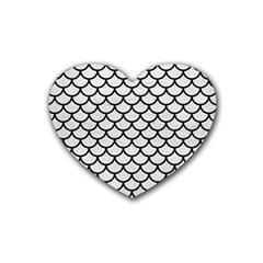 Scales1 Black Marble & White Leather Rubber Coaster (heart)