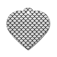 Scales1 Black Marble & White Leather Dog Tag Heart (two Sides)