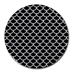 Scales1 Black Marble & White Leather (r) Round Mousepads