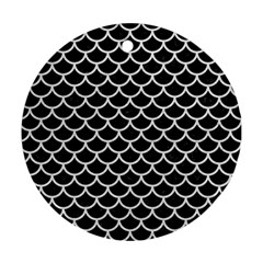 Scales1 Black Marble & White Leather (r) Ornament (round)