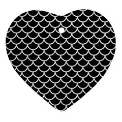 Scales1 Black Marble & White Leather (r) Ornament (heart)