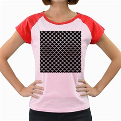 Scales1 Black Marble & White Leather (r) Women s Cap Sleeve T Shirt