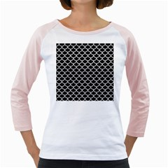 Scales1 Black Marble & White Leather (r) Girly Raglans