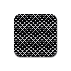 Scales1 Black Marble & White Leather (r) Rubber Coaster (square)