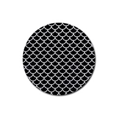 Scales1 Black Marble & White Leather (r) Rubber Round Coaster (4 Pack)