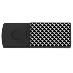 Scales1 Black Marble & White Leather (r) Rectangular Usb Flash Drive