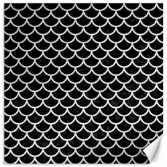 Scales1 Black Marble & White Leather (r) Canvas 20  X 20