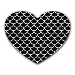 Scales1 Black Marble & White Leather (r) Heart Mousepads