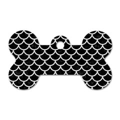 Scales1 Black Marble & White Leather (r) Dog Tag Bone (two Sides)