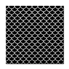 Scales1 Black Marble & White Leather (r) Face Towel