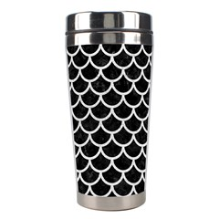Scales1 Black Marble & White Leather (r) Stainless Steel Travel Tumblers