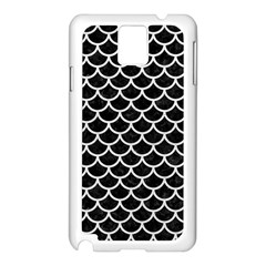 Scales1 Black Marble & White Leather (r) Samsung Galaxy Note 3 N9005 Case (white)