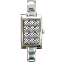 Scales2 Black Marble & White Leather Rectangle Italian Charm Watch