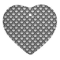 Scales2 Black Marble & White Leather Ornament (heart)