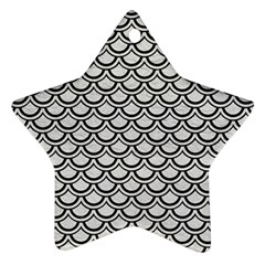 Scales2 Black Marble & White Leather Ornament (star)
