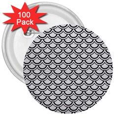 Scales2 Black Marble & White Leather 3  Buttons (100 Pack)