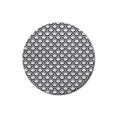 Scales2 Black Marble & White Leather Rubber Coaster (round)