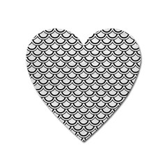 Scales2 Black Marble & White Leather Heart Magnet