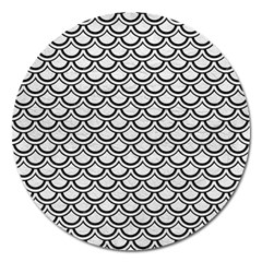 Scales2 Black Marble & White Leather Magnet 5  (round)