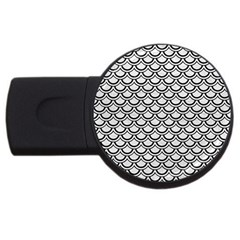Scales2 Black Marble & White Leather Usb Flash Drive Round (2 Gb)