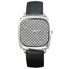 Scales2 Black Marble & White Leather Square Metal Watch