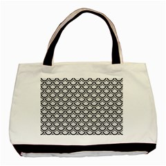 Scales2 Black Marble & White Leather Basic Tote Bag