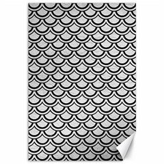 Scales2 Black Marble & White Leather Canvas 12  X 18
