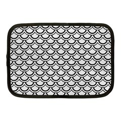 Scales2 Black Marble & White Leather Netbook Case (medium)