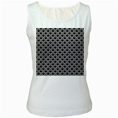 Scales2 Black Marble & White Leather (r) Women s White Tank Top