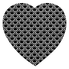 Scales2 Black Marble & White Leather (r) Jigsaw Puzzle (heart)