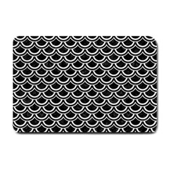 Scales2 Black Marble & White Leather (r) Small Doormat