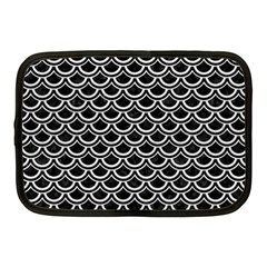 Scales2 Black Marble & White Leather (r) Netbook Case (medium)