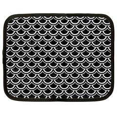 Scales2 Black Marble & White Leather (r) Netbook Case (large)