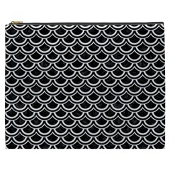 Scales2 Black Marble & White Leather (r) Cosmetic Bag (xxxl)