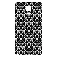 Scales2 Black Marble & White Leather (r) Galaxy Note 4 Back Case