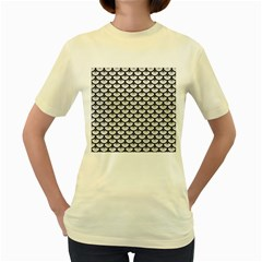 Scales3 Black Marble & White Leather Women s Yellow T Shirt