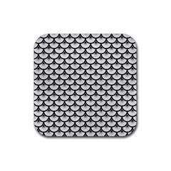 Scales3 Black Marble & White Leather Rubber Square Coaster (4 Pack)