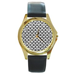 Scales3 Black Marble & White Leather Round Gold Metal Watch