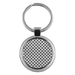 Scales3 Black Marble & White Leather Key Chains (round)
