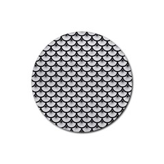 Scales3 Black Marble & White Leather Rubber Coaster (round)