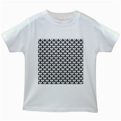 Scales3 Black Marble & White Leather Kids White T Shirts